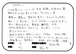 岡山市北区にお住いのKさん (41歳) 「背中の肉が気になる...」